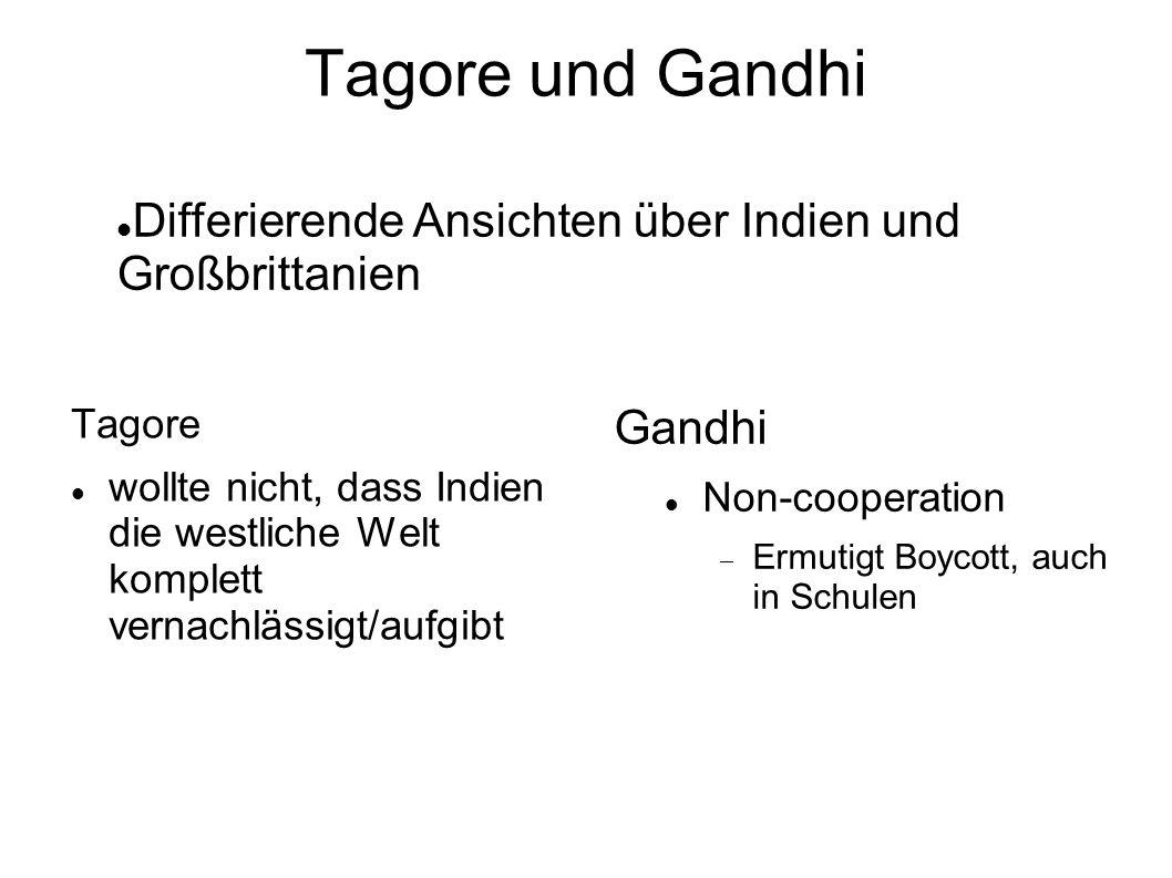 Tagore und Gandhi Differierende Ansichten über Indien und Großbrittanien. Tagore.