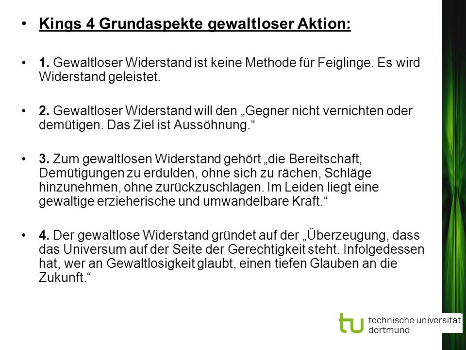 Kings 4 Grundaspekte gewaltloser Aktion: