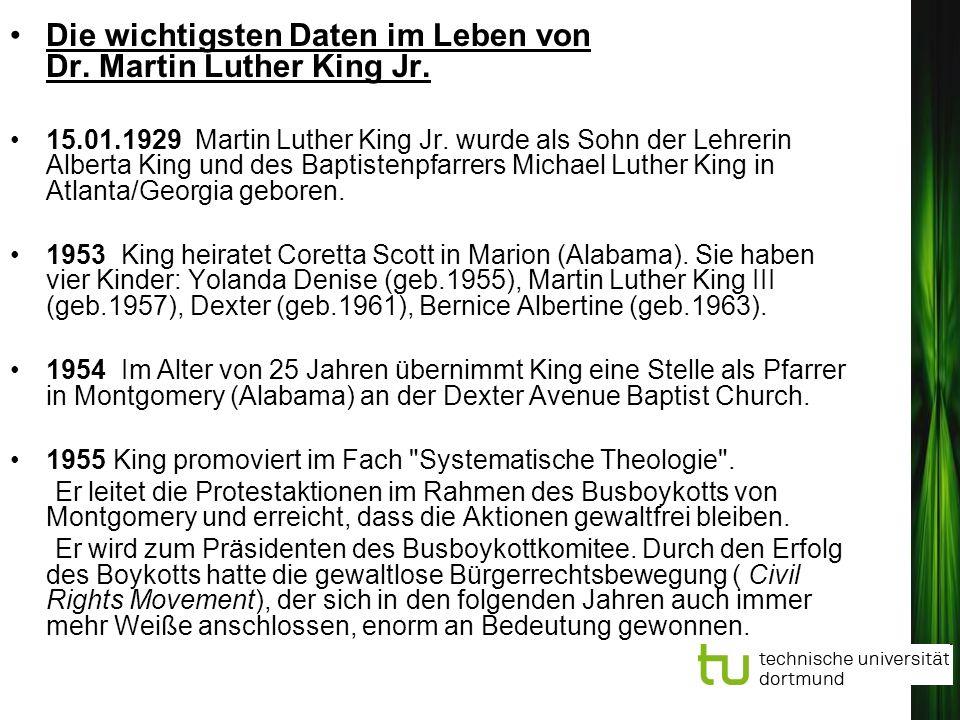 Die wichtigsten Daten im Leben von Dr. Martin Luther King Jr.