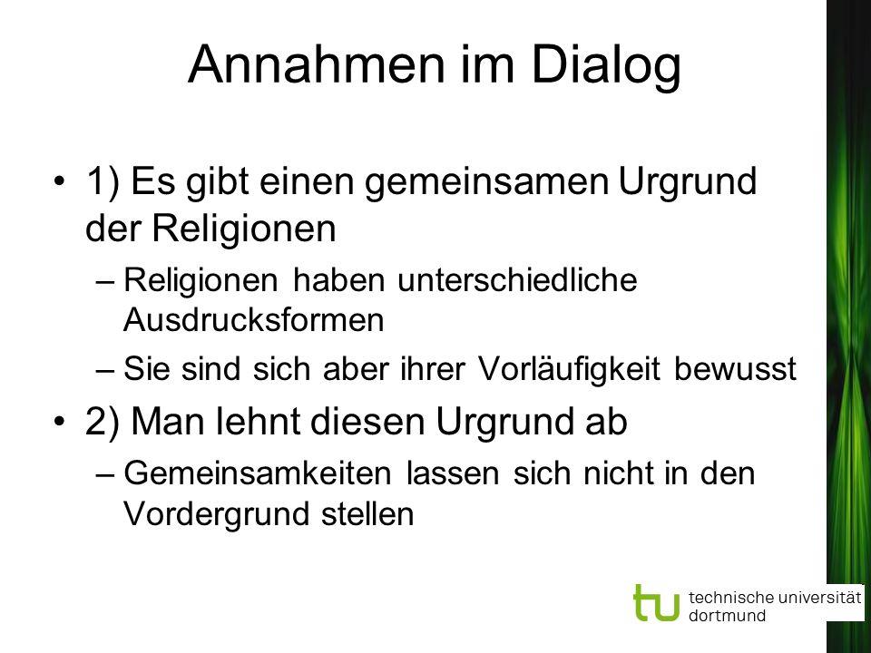 Annahmen im Dialog 1) Es gibt einen gemeinsamen Urgrund der Religionen
