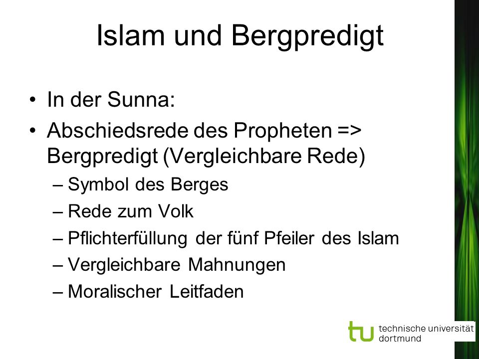 Islam und Bergpredigt In der Sunna: