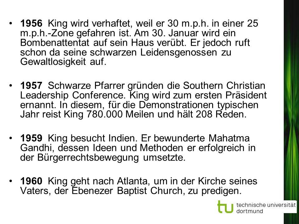 1956 King wird verhaftet, weil er 30 m. p. h. in einer 25 m. p. h