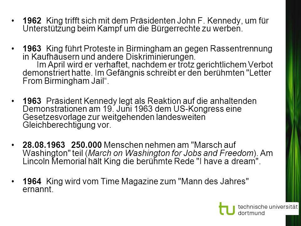1962 King trifft sich mit dem Präsidenten John F