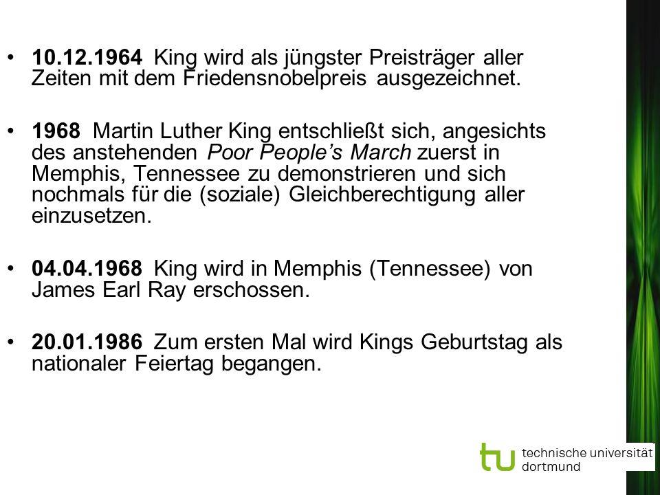 10.12.1964 King wird als jüngster Preisträger aller Zeiten mit dem Friedensnobelpreis ausgezeichnet.