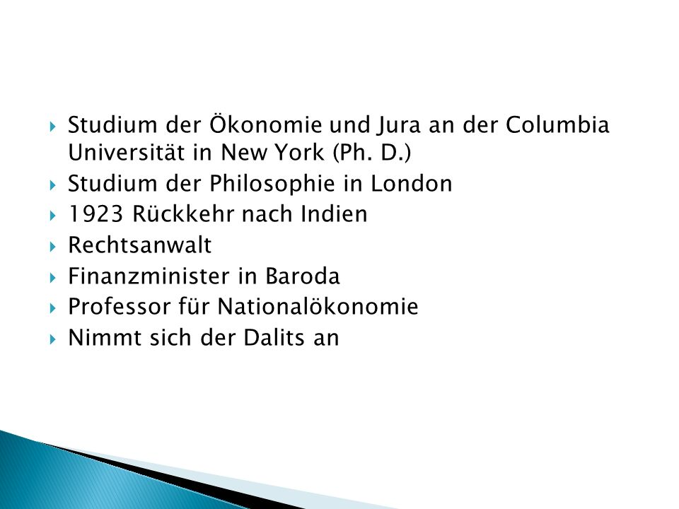Studium der Ökonomie und Jura an der Columbia Universität in New York (Ph. D.)