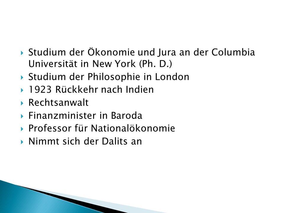 Studium der Ökonomie und Jura an der Columbia Universität in New York (Ph. D.)