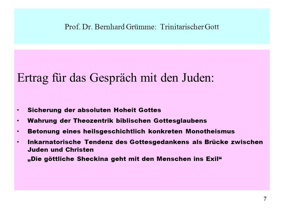 Prof. Dr. Bernhard Grümme: Trinitarischer Gott