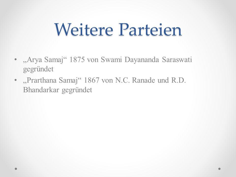 """Weitere Parteien """"Arya Samaj 1875 von Swami Dayananda Saraswati gegründet."""