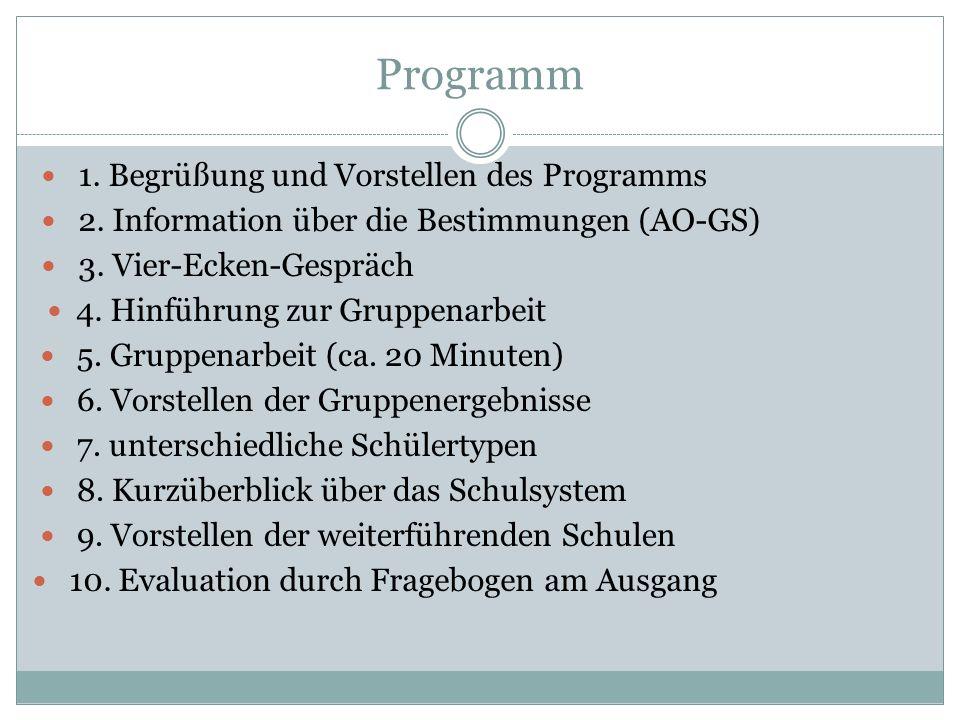 Programm 1. Begrüßung und Vorstellen des Programms