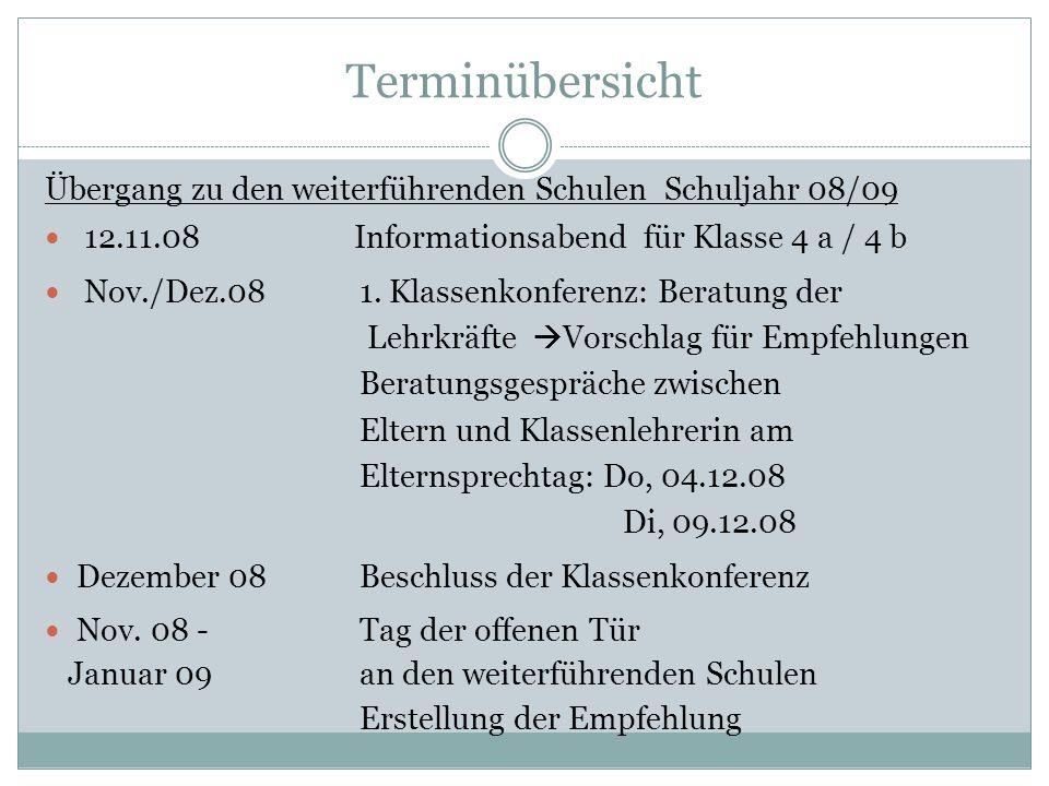 Terminübersicht Übergang zu den weiterführenden Schulen Schuljahr 08/09. 12.11.08 Informationsabend für Klasse 4 a / 4 b.