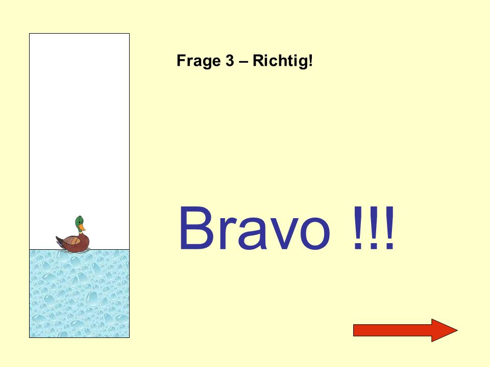 Frage 3 – Richtig! Bravo !!!