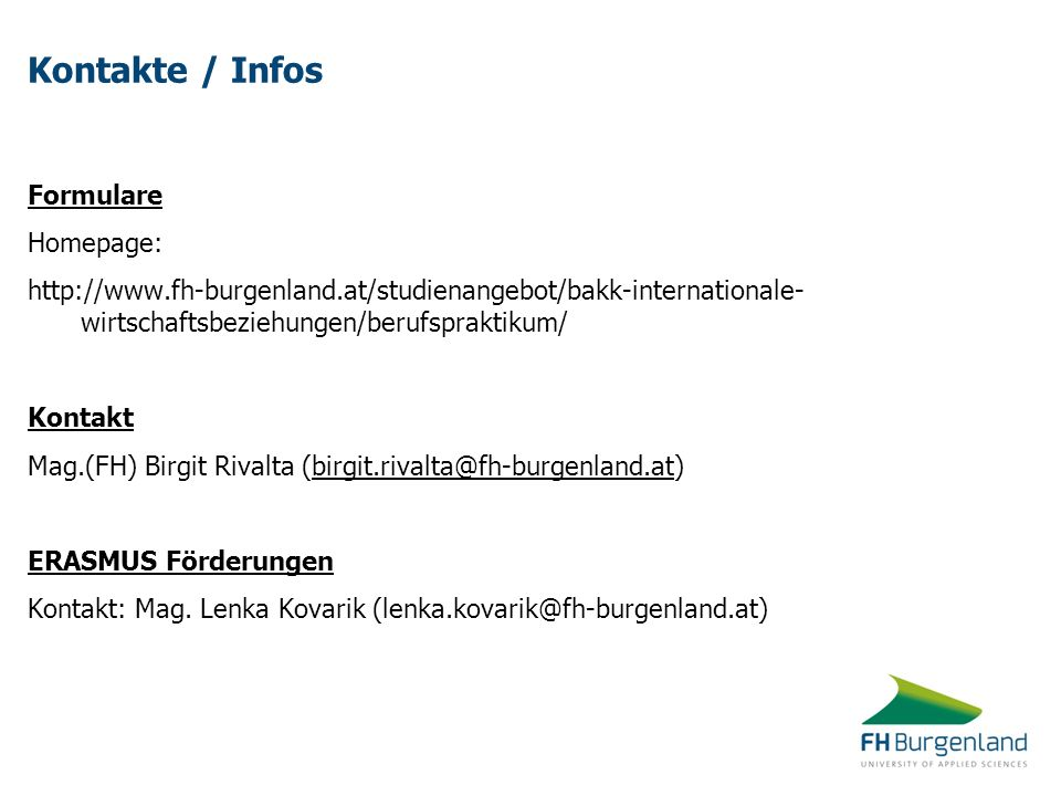 Kontakte / Infos Formulare Homepage:
