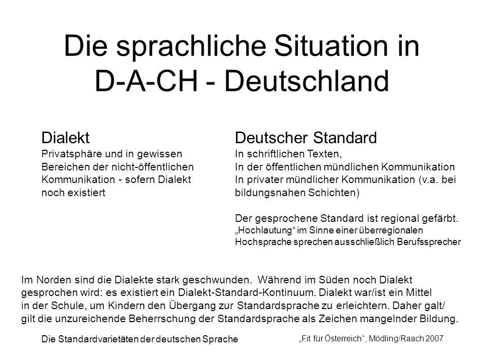 Die sprachliche Situation in D-A-CH - Deutschland