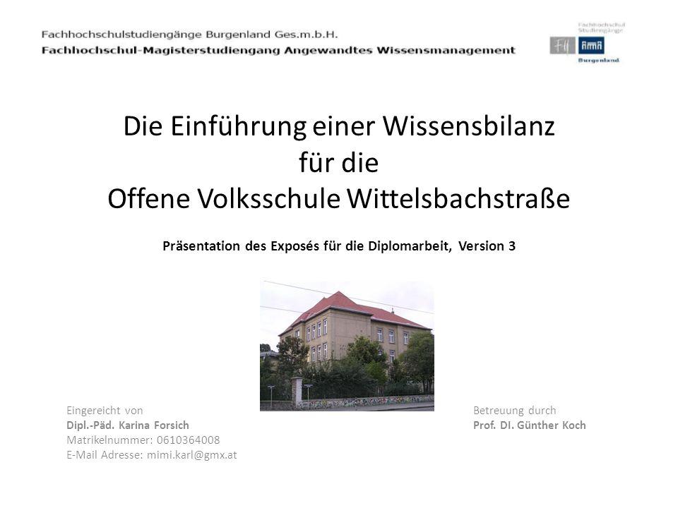 Die Einführung einer Wissensbilanz für die Offene Volksschule Wittelsbachstraße Präsentation des Exposés für die Diplomarbeit, Version 3