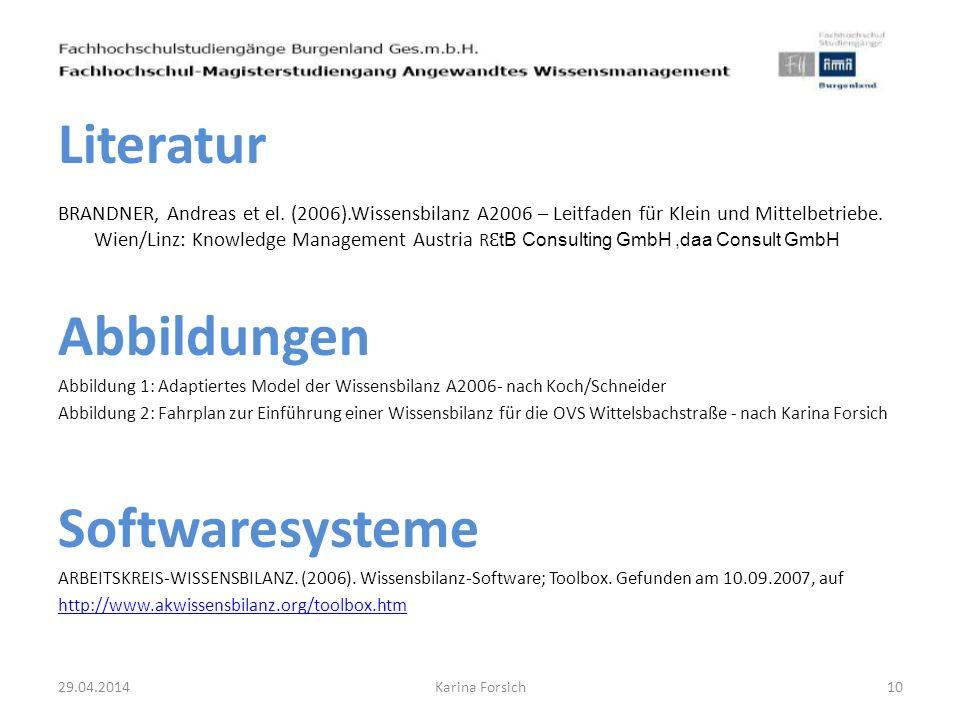 Literatur Abbildungen Softwaresysteme