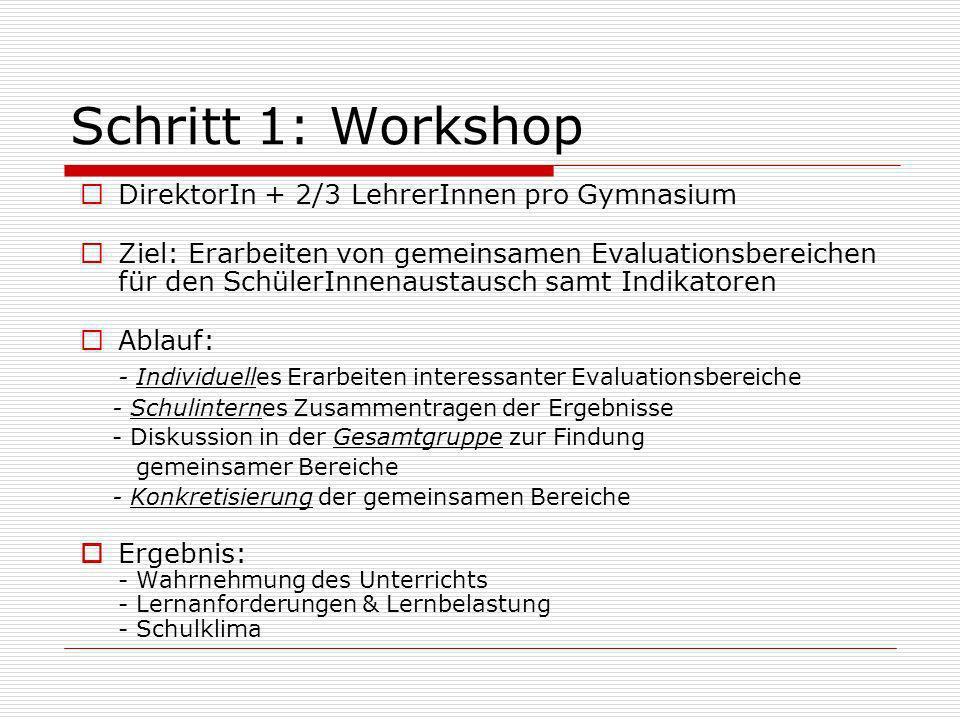 Schritt 1: Workshop DirektorIn + 2/3 LehrerInnen pro Gymnasium