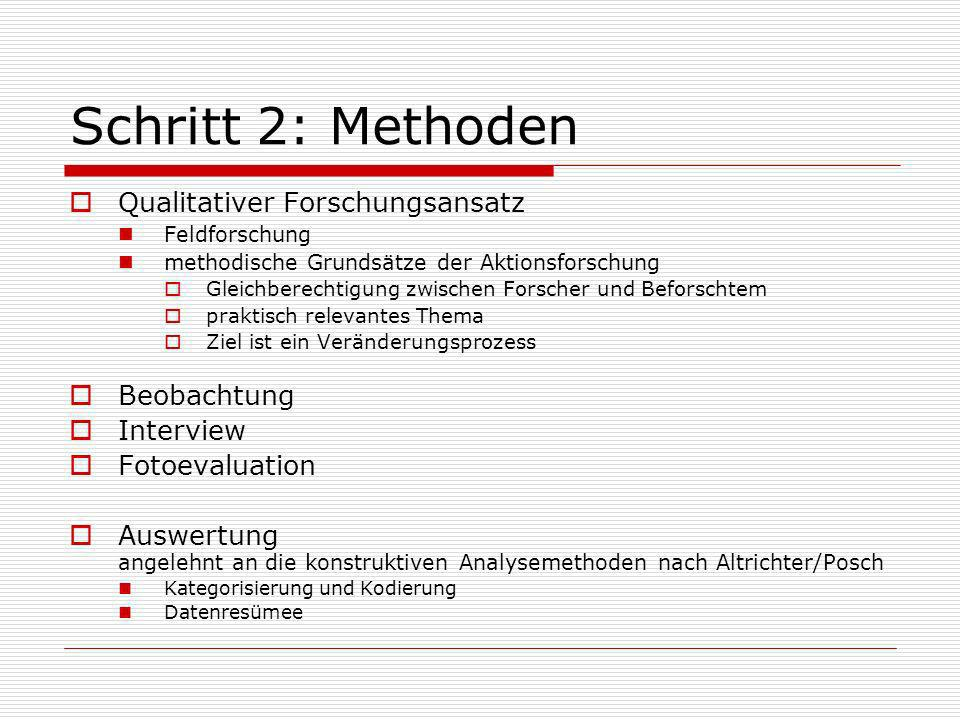 Schritt 2: Methoden Qualitativer Forschungsansatz Beobachtung