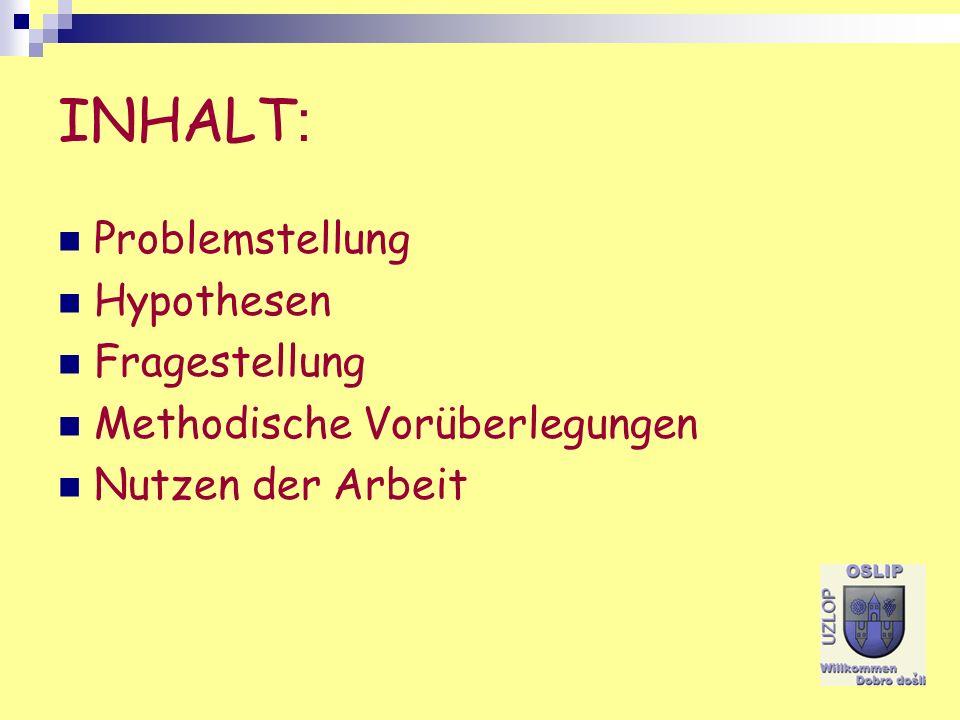 INHALT: Problemstellung Hypothesen Fragestellung