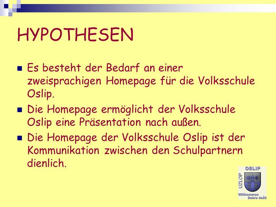 HYPOTHESEN Es besteht der Bedarf an einer zweisprachigen Homepage für die Volksschule Oslip.