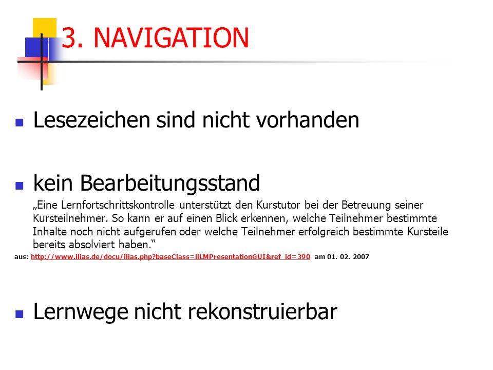 3. NAVIGATION Lesezeichen sind nicht vorhanden kein Bearbeitungsstand