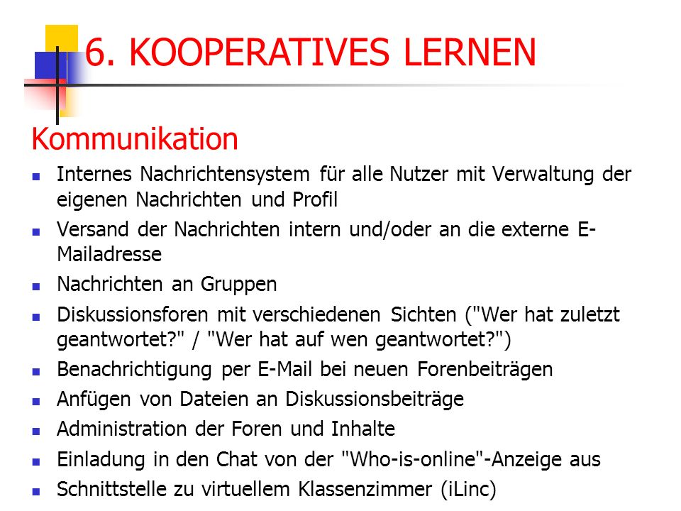 6. KOOPERATIVES LERNEN Kommunikation