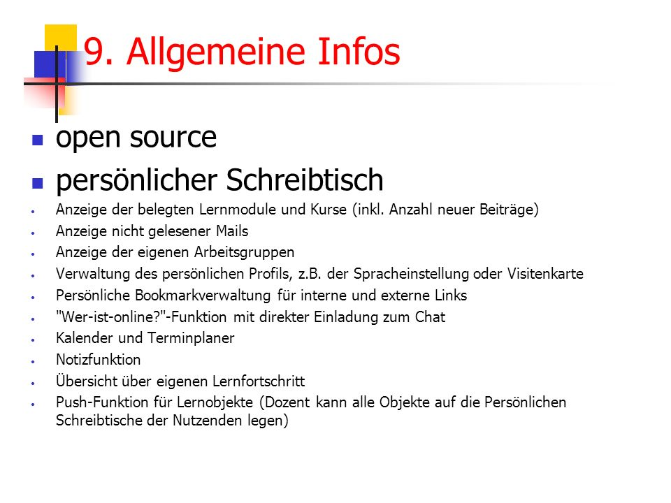 9. Allgemeine Infos open source persönlicher Schreibtisch