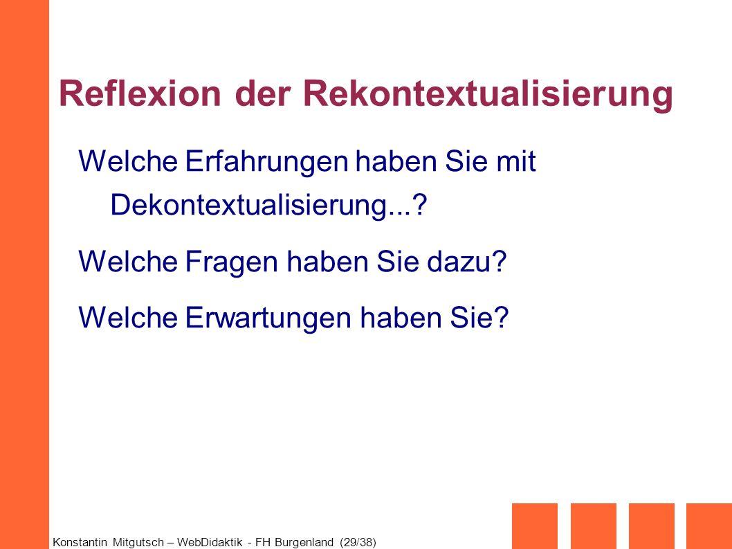 Reflexion der Rekontextualisierung