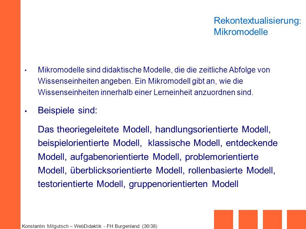 Rekontextualisierung: Mikromodelle