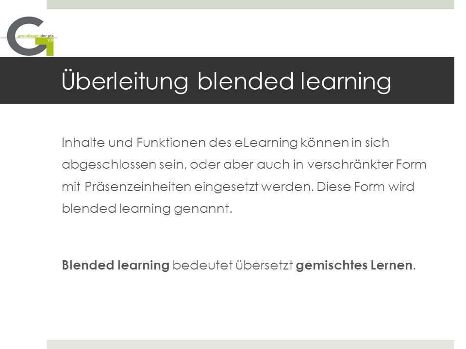 Überleitung blended learning