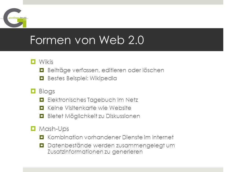 Formen von Web 2.0 Wikis Blogs Mash-Ups