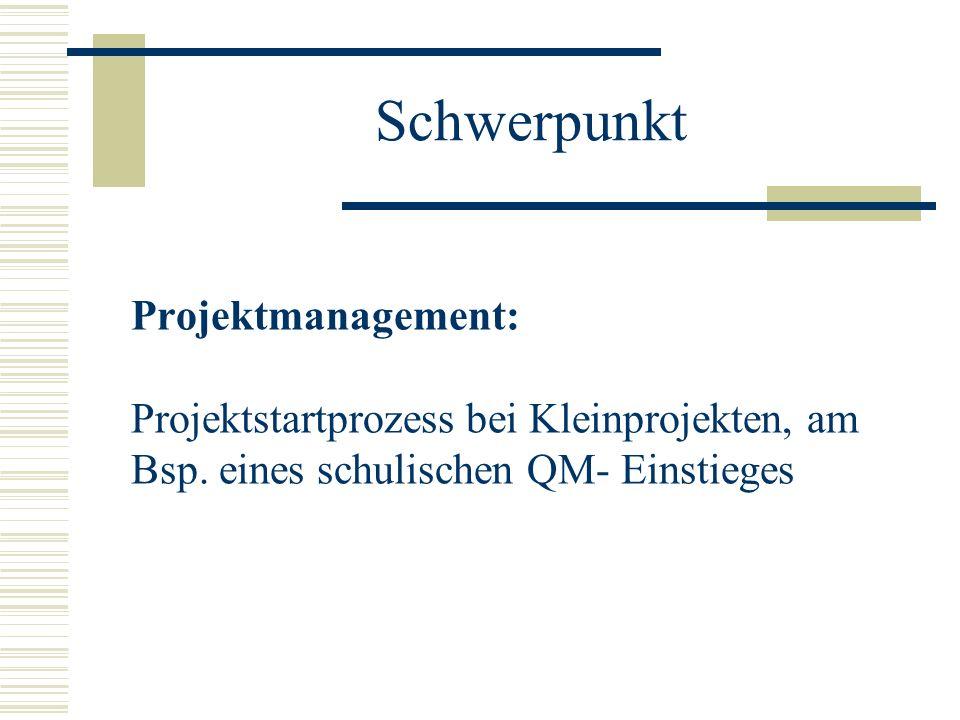 Schwerpunkt Projektmanagement: Projektstartprozess bei Kleinprojekten, am Bsp.