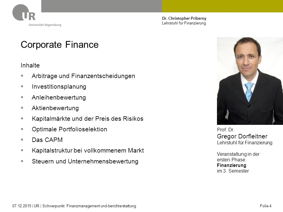 Corporate Finance Inhalte Arbitrage und Finanzentscheidungen