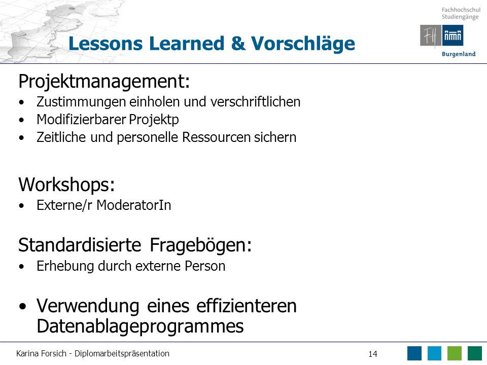Lessons Learned & Vorschläge