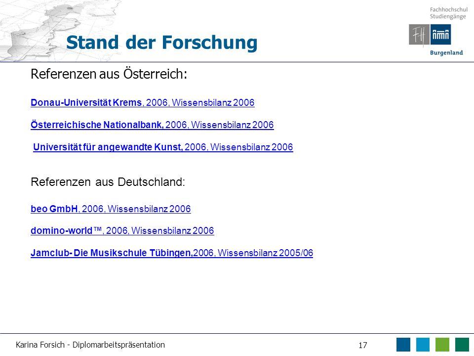Stand der Forschung Referenzen aus Österreich:
