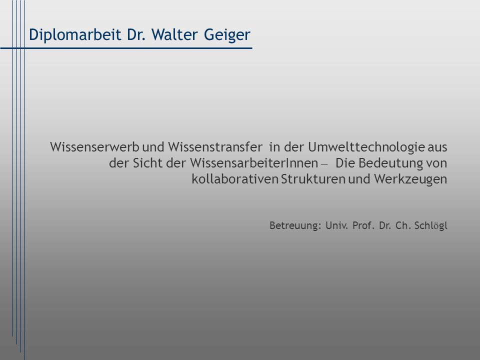 Diplomarbeit Dr. Walter Geiger