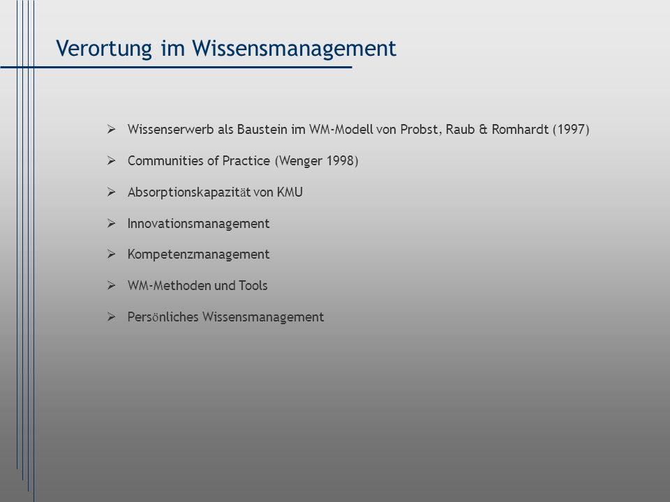 Verortung im Wissensmanagement