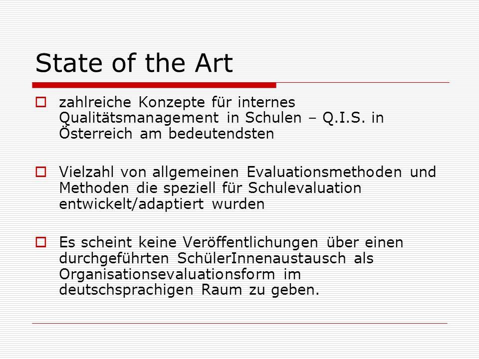 State of the Artzahlreiche Konzepte für internes Qualitätsmanagement in Schulen – Q.I.S. in Österreich am bedeutendsten.