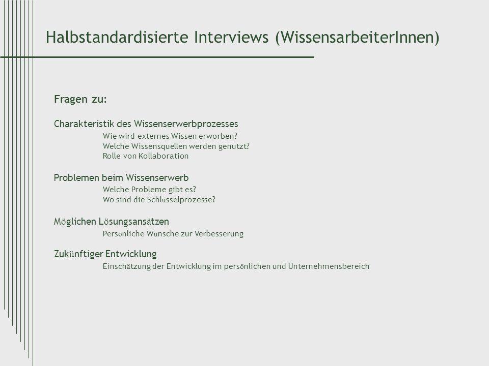 Halbstandardisierte Interviews (WissensarbeiterInnen)