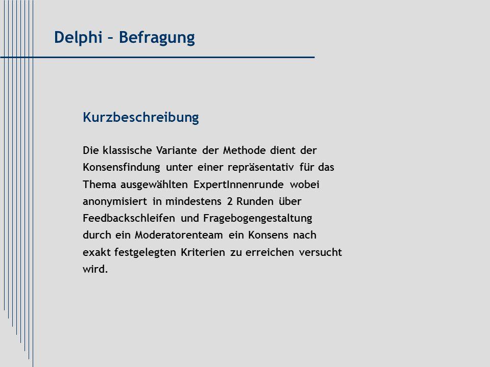 Delphi – Befragung Kurzbeschreibung
