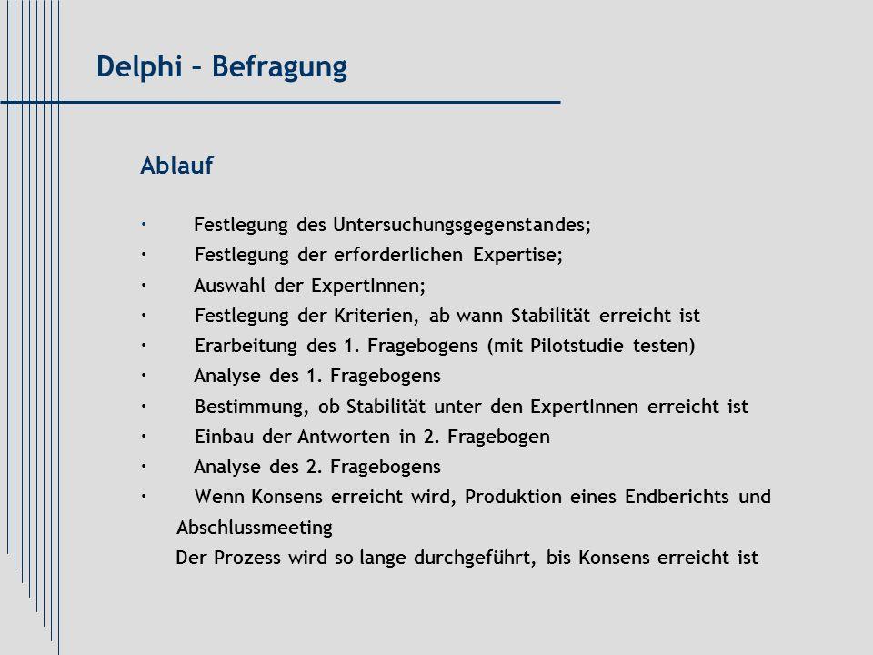 Delphi – Befragung Ablauf · Festlegung des Untersuchungsgegenstandes;