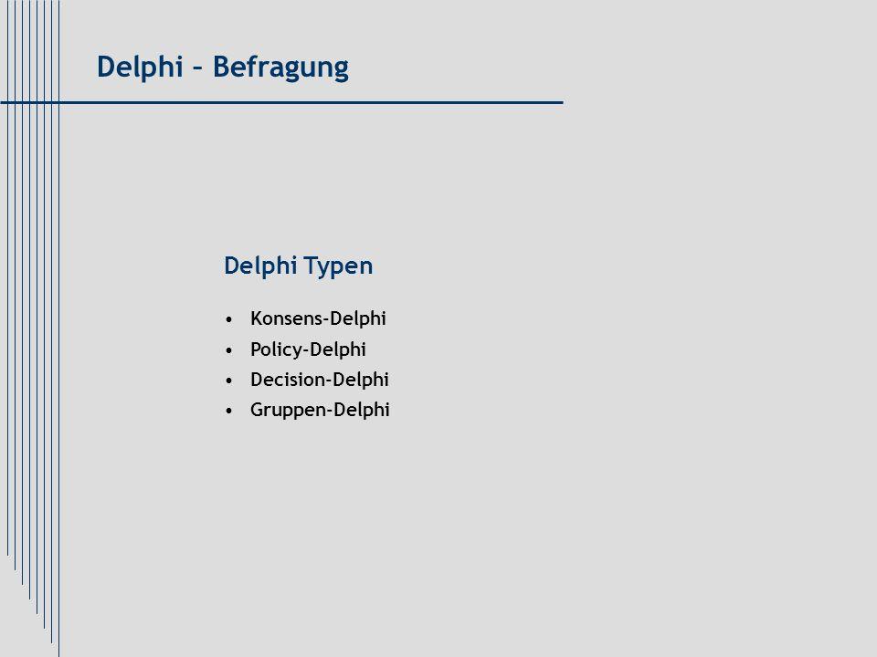Delphi – Befragung Delphi Typen Konsens-Delphi Policy-Delphi