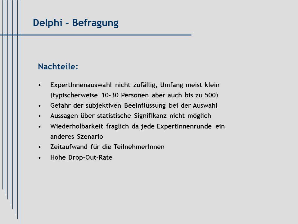 Delphi – Befragung Nachteile: