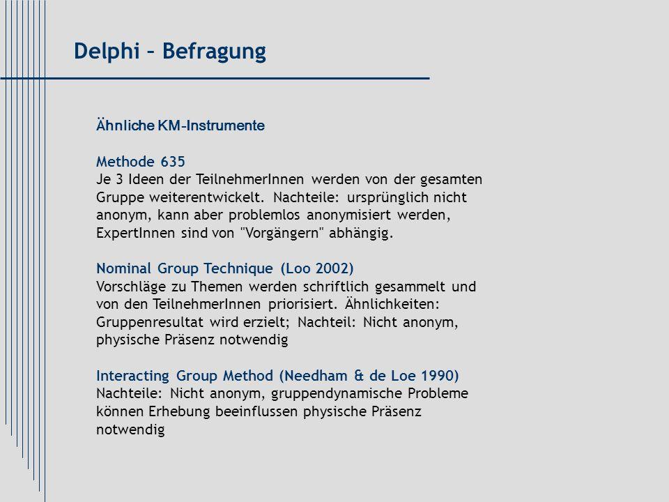 Delphi – Befragung Ähnliche KM-Instrumente Methode 635