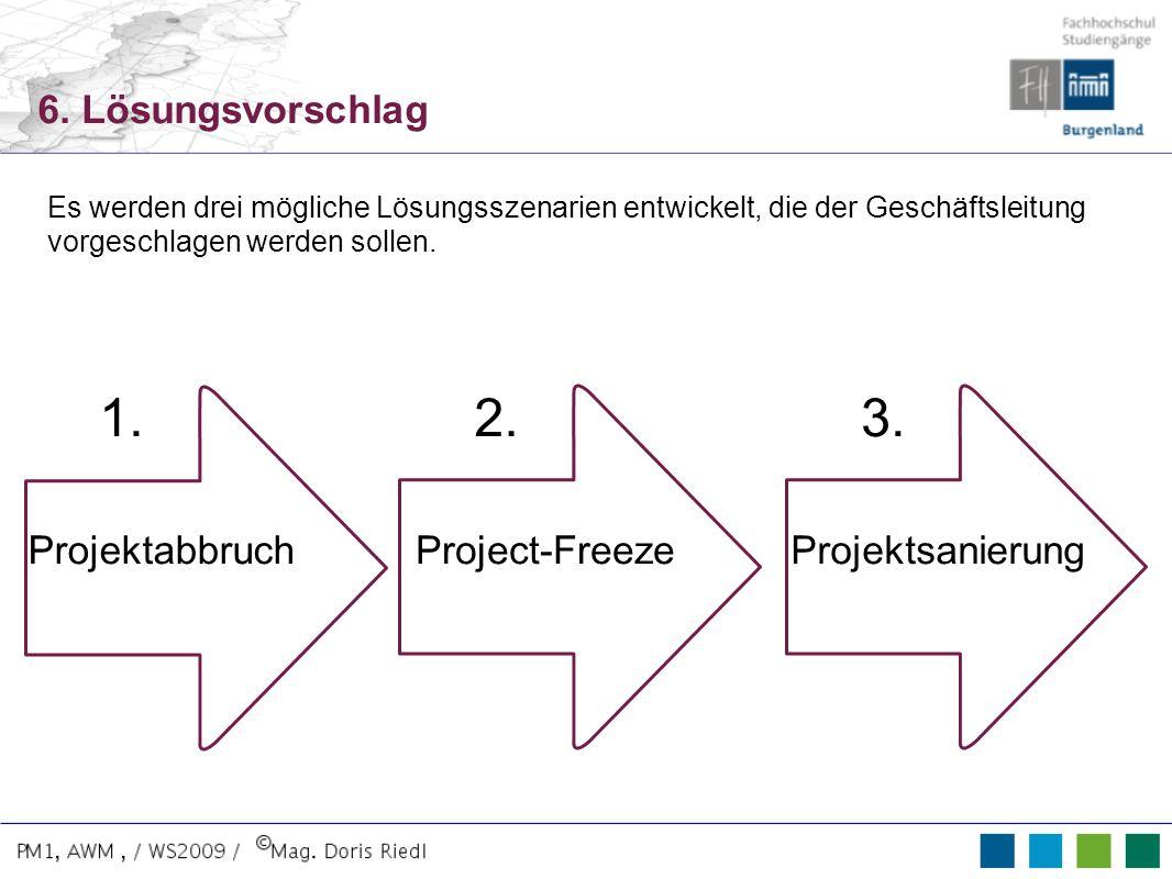 1. 2. 3. 6. Lösungsvorschlag Projektabbruch Project-Freeze