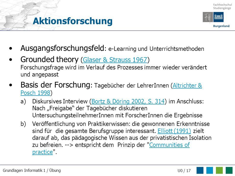 Aktionsforschung Ausgangsforschungsfeld: e-Learning und Unterrichtsmethoden.