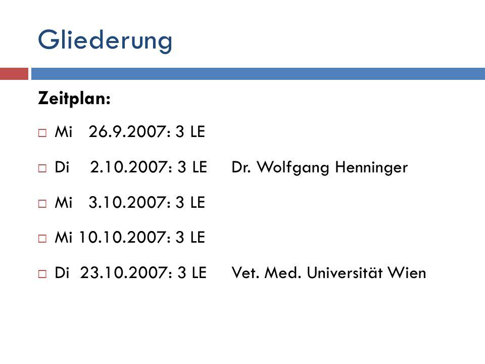 Gliederung Zeitplan: Mi 26.9.2007: 3 LE