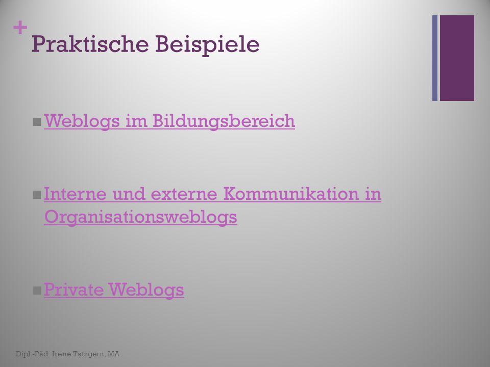 Praktische Beispiele Weblogs im Bildungsbereich