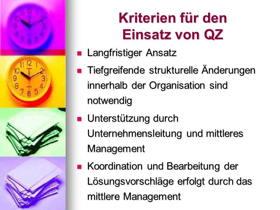 Kriterien für den Einsatz von QZ