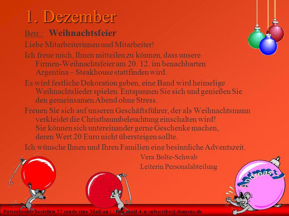 1. Dezember Betr.: Weihnachtsfeier