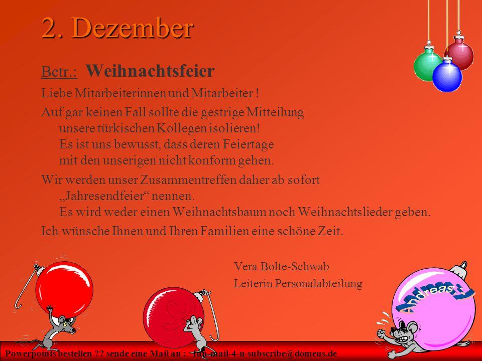 2. Dezember Betr.: Weihnachtsfeier